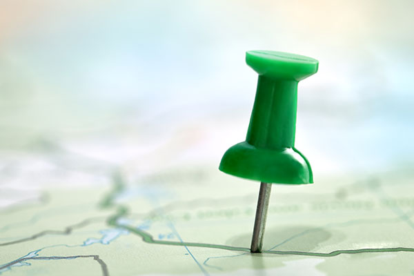 Thumbtack showing location on a map